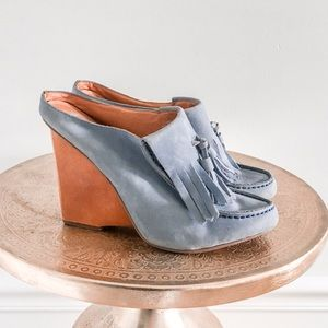 Anthropologie Lucky Penny Towering Tassel Mules